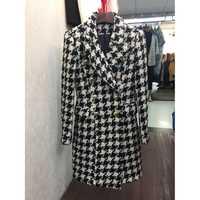 Abrigo largo de Tweed con doble botonadura y botones de León de alta calidad nuevo elegante 2018 de diseñador de lana para mujer
