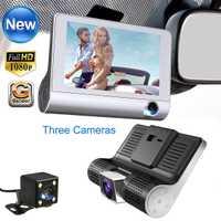 4,0 ''3 coche DVR cámara grabadora de vídeo vista trasera Auto Registrator con dos cámaras Dash Cam DVRS Dual lente g-sensor