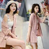 Rosa plaid traje pequeño traje de verano femenino 2019 nueva sección delgada Coreana de moda francés pequeños pantalones de dos piezas marea