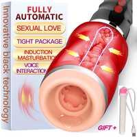 LOUGE sexo Oral boca de succión automática hombre masturbador para hombre de silicona vagina real gemir vibrador, Juguetes sexuales para hombres erótico