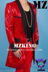2018 nueva moda chaqueta de la ropa de los hombres Bigbang Delgado DJ rojo Lentejuelas capa larga traje estudio anfitrión etapa más tamaño trajes del cantante