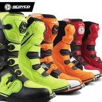SCOYCO MBM001 couleur bottes de course hors route bottes de moto Motocross moto équitation longue genou chaussures hautes équipement de protection lourd