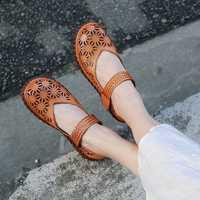 VALLU hueco Verano de mujer pisos originales zapatos de cuero genuino ronda los dedos de los pies Vintage hecho a mano mujer Mary Janes zapatos planos zapatos