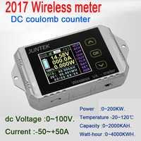 Monitor de batería DC 100 V 50A inalámbrico de temperatura amperímetro de KWh vatios medidor de coulometer capacidad probador de potencia del coche 12 V 24 V