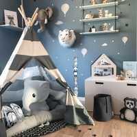 Tienda de juego Tipi para niños-100% algodón lona gris rayas niños Tipi Playhouse con alfombra Interior Exterior juguete niños niñas bebé regalo