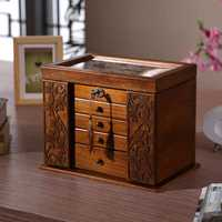 La nueva caja de joyería de madera caja de almacenamiento retro trébol de madera cosméticos cajas con cerradura oferta especial organización caso 34*23*25 cm