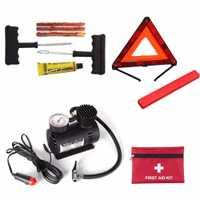 Coche portátil Auto DC 12 V compresor de aire eléctrico/Inflador de neumáticos 300PSI Automo + señal de advertencia de emergencia triangular del coche + Kit de primeros auxilios