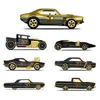 Hot Wheels coche edición coleccionista 50th aniversario negro oro Metal Diecast coches Juguetes vehículo para niños Juguetes FRN33