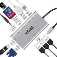 Moyeu USB EKSA 10 en 1 Type moyeu C 3.0 avec 3 ports USB 3.0, 4 K HDMI, 1080 P VGA, RJ45, prise 3.5mm, lecteur de carte pour Huawei P20 Pro