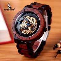 Reloj mecánico BOBO BIRD de madera para hombre, reloj grande masculino, relojes de marca top lujosa, relojes de pulsera W-R05