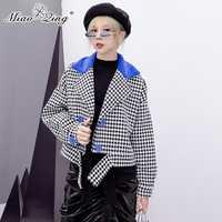 MIAOQING 2018 moda Otoño Mujer Chaquetas de piel de bolsillos de Streetwear ropa chaquetas de lana de Tweed Tops