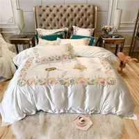 80 s algodón egipcio juego de cama bordado RUIYEE cómoda ropa de cama king size juego de cama funda de almohada de lujo sábana funda de edredón
