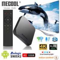 Mecool KM9 Android 8,1 caja de TV inteligente S905X2 4 GB DDR4 RAM 32 GB ROM 2,4G/5G wiFi BT 4,1 Control de voz Set Top Box 4 K Media Player