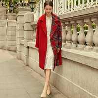 Rojo Plaid lana abrigo de invierno de mujeres Vintage Patchwork abrigo de lana elegante coreano gruesa caliente diseñador chaqueta Outwear 2018