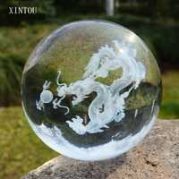 XINTOU 3D láser grabado Crystal Dragon Ball Asia China mascota dragón Figurines Feng Shui globo Sala ornamento