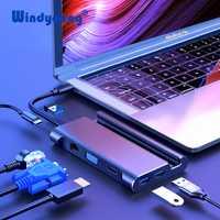 USB-C tipo C HUB USB 3,0 Thunderbolt 3 HDMI VGA RJ45 de adaptador con soporte de teléfono para MacBook pro Huawei P30 USB C