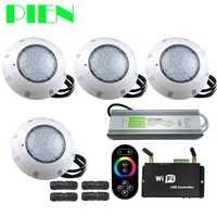 WIFI RGB LED Piscina luces resina llena Par56 subacuática Luz Piscina IP68 12 V 18 W 42 w con RF remoto alimentación 4 piezas