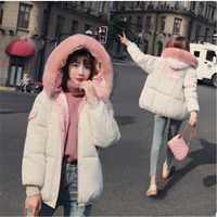 Nueva piel de la manera Collar corto Parkas sueltan abajo abrigos invierno mujeres chaquetas con capucha negro Rosa Outwear Y-039