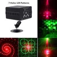 Patrón de 120 Proyector láser control remoto/sonido Control de discoteca luz LED RGB fiesta de DJ luz de la etapa de la boda de la decoración de Navidad de la lámpara