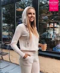 Hiver laine + cachemire tricoté costume chaud fermeture éclair à capuche velours pull + vison cachemire pantalon loisirs deux pièces costumes wj2812