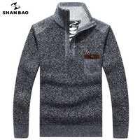SHANBAO 2018 invierno más terciopelo grueso algodón caliente casual de negocios suéter cremallera cuello collar bolsillo en el pecho de los hombres suéter