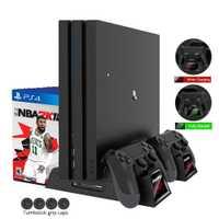 DOBE soporte PS4 Slim/PS4 Pro/PS4 soporte Vertical 3 ventilador de refrigeración refrigerador con indicadores LED de carga Dual cargador estación para Dualshock 4
