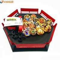 De Oro estilo spin top explosión hoja de juguete Metal Funsion con mango lanzador de caja de plástico juguetes para los niños