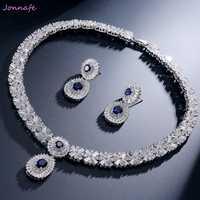 Jonnafe Luxurys de novia regalo de boda joyería nupcial conjunto AAA Zirconia gota de agua collar pendientes para las mujeres de