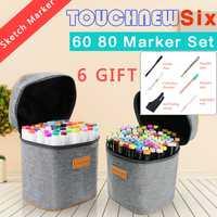 Touchnew 60 80 colores doble cabeza marcador pluma para la escuela de dibujo marcadores cepillo pluma pincel para dibujar Manga diseño de moda suministros de arte