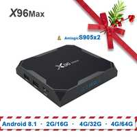 X96 max Amlogic s905x2 tv box android 8,1 x96max 2G16G/4G32G/4G64G Quad Core ARM 2,4G y 5 GHz Wifi BT 1000 M 4 K Set top box