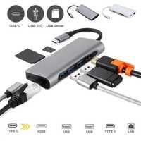 USB C 8 in1 USB-C al tipo-C USB Multi 3,0 HDMI RJ45 Ethernet Micro SD TF OTG Hub dropshipping. exclusivo. April29