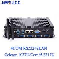 Intel Core i5 3317u PC Industrial 1007u sin ventilador Mini PC Windows 10 TV Box HDMI 4 RS232 Dual NIC 2 LAN 8 USB WiFi resistente computadora
