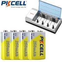 4 unids * pkcell 250 mAh NiMH 6F22 9 V batería recargable con 1 unids 8182 9 V cargador de batería