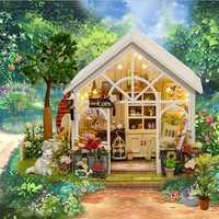Juguetes Educativos Cuteroom miniatura casa de muñecas DIY Kit de casa de madera hecho a mano artesanía regalo sol casa verde Regalo de Cumpleaños 40FE11