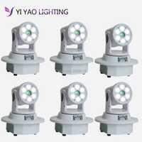 6 unids/lote DMX-512 Mini cabeza móvil haz de luz láser verde y LED etapa de iluminación de la luz estroboscópica profesional