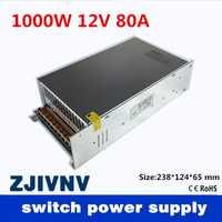 De salida única de pequeño volumen 1000 W 12 V 80A transformador de suministro de energía de conmutación AC110V o 220 V a DC SMPS para luz LED CNC paso a paso