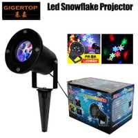 Gigertop TP-E32 Led Snowflake luz impermeable IP65 con 4x1 W RGBW Leds rotación nieve rueda tierra/ construcción de pared proyector
