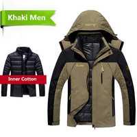 Chaqueta de invierno 2018 para hombre 2 en 1 abrigo de abrigo grueso abrigo parka de retazos chaqueta impermeable talla L 6XL doudoune homme
