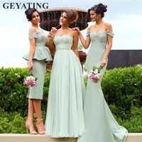 Vestidos de dama de honor de color verde menta de estilo mixto 2019 elegantes vestidos formales de fiesta de boda de salvia con hombros descubiertos para mujeres