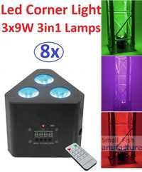 8 xlot LED mini esquina 3x9 W 3in1 RGB profesional del efecto de etapa iluminación 30 W led par DJ disco DMX Proyector láser ir remoto