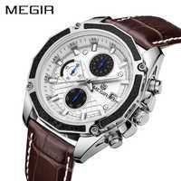 Reloj Casual de moda MEGIR correa de cuero para hombre relojes de cuarzo deportivos impermeables relojes de pulsera para hombre