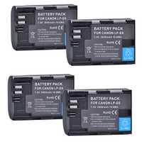 4 Pack Canon LP-E6, LP-E6N batterie de remplacement pour Canon EOS 60D, 70D, 5D Mark II, 5D Mark III, 5D Mark IV, 5DS, 5DS R, 6D, 7D,