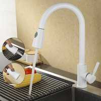 Fregadero grifo de cocina blanco latón acabado cocina cuenca grifo sacar primavera pico mezclador grifo sola manija caliente giratoria grifo