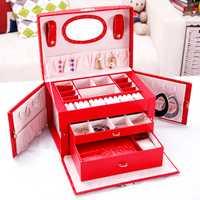 Pendientes de moda anillos collar caja de almacenamiento elegante para mujer caja de joyería de cuero organizador de almacenamiento caja de joyería caja de ataúd