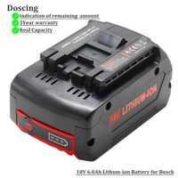Para Bosch 18 V 6000 mAh herramientas eléctricas de la batería recargable, paquete de baterías inalámbrico para Bosch taladro BAT609 BAT618 3601H61S10 JSH180