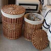 Organización de almacenamiento en casa hecha a mano tejida mimbre espadaña lavandería Cestas de almacenamiento con tapa decorativa cestas de mimbre cesta