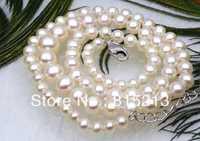 Ddh001295 Genuino AAA + ronda incluso torre blanca akoya collar de perlas 14 k