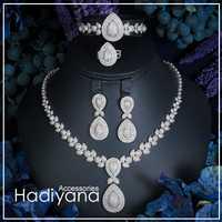 Hadiyana De Luxe Shinning Cubique Zircon 4 pièces Ensemble Bijoux Pour Femmes offre spéciale Collier et bracelet et boucles d'oreilles ensembles de bijoux CN289