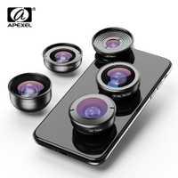APEXEL HD 5 en 1 objectifs de téléphone caméra 4 K large macro télescope super objectif Fisheye pour iphone x xs max Samsung s9 tous les smartphones