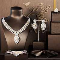 Noble Micro Pave Cubic Zirconia piedras de lujo Dubai Color oro nupcial boda collar joyería conjuntos para mujeres